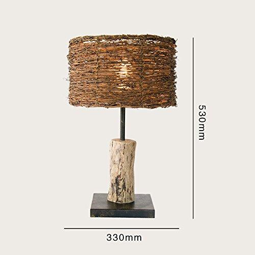 Village Simple Decoration Wooden Bedroom Study Wood Rattan Table Desk Bedside Lamp Light 300X530Mm,B by GAW Lighting Co.Ltd (Image #2)