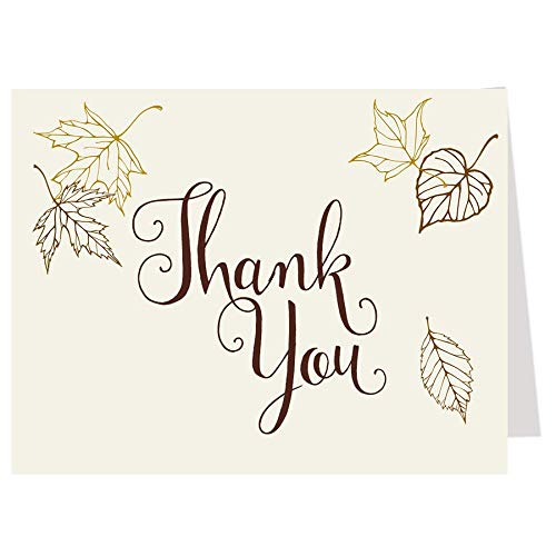Autumn Thank You Cards Fall In Love Folding Thank You Notes Bridal Shower Wedding Party Birthday Baby Leaves Brown Chocolate Gold Ivory Cream Rustic Chic (50 count)]()