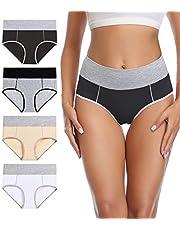 wirarpa Women's Underwear Cotton Stretch Briefs High Waist Ladies Colourful Panties 4 Pack (Regular & Plus Size)