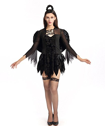 Hihihappy Fashion Halloween Dark Devil Angel Costume Cosplay Vampire Witch Party Queen Dress With Halo as pictureXL=US 10
