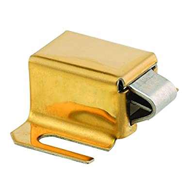 """Slide-Co 1932-S-20 Hinged Shower Door Catch with 1"""" Hole Centers, Stainless Tip, Brass Plated"""