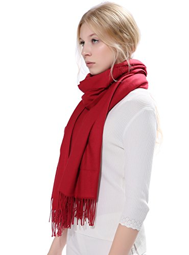Anboor Cashmere Feel Blanket Scarf Super Soft With Tassel Solid Color Warm Shawl