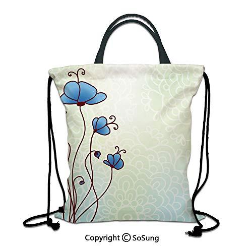 (Floral 3D Print Drawstring Bag String Backpack,Spring Petal Birthday Celebration Valentines Flourish Beauty Girlish Print Decorative,for Travel Gym School Beach Shopping,Pale and Violet Blue)