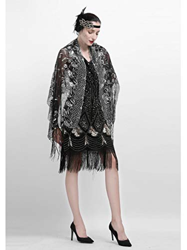 Zivyes 1920s Shawl Beaded Sequin Wraps Evening Cape Wedding Bridal Scarf Flapper Cover up by Zivyes (Image #1)