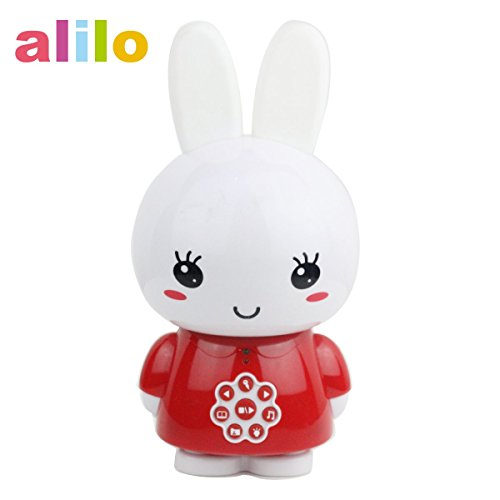 alilo Honey Bunny 8GB Children MP3 Player Light Toy for Baby, Silicone Teether Ears, Music Story Song Included (Red) by alilo