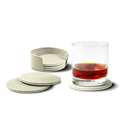 Lucrin - Set of 6 Round Real Leather Coasters with Coaster Holder -White - Smooth Leather by Lucrin