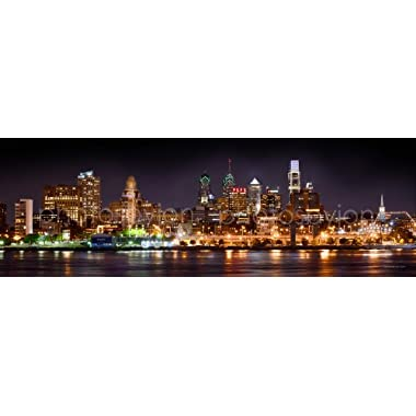 Philadelphia Skyline PHOTO PRINT UNFRAMED NIGHT from East COLOR Philly City Downtown 11.75 inches x 36 inches Photographic Panorama Print Photo Picture Standard Size