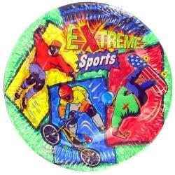 Extreme Sports BMX Skate Board Rollerblade Birthday Plates (24) (Skateboard Supplies Birthday)
