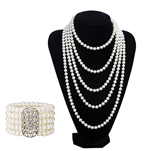 (1920s Pearls Necklace Fashion Faux Pearls Gatsby Accessories Vintage Costume Jewelry Cream Long Necklace for Women(A-White)