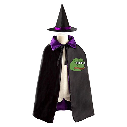 Children's Frog Costume Pattern (Halloween Costumes Witch Pepe Frog Wizard Reversible Cloak With Hat Kids Boys Girls)
