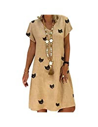 Vestido de Manga Corta para Mujer, Falda de Color sólido con Cuello Redondo y Estampado de Gato de Moda (L-Caqui)