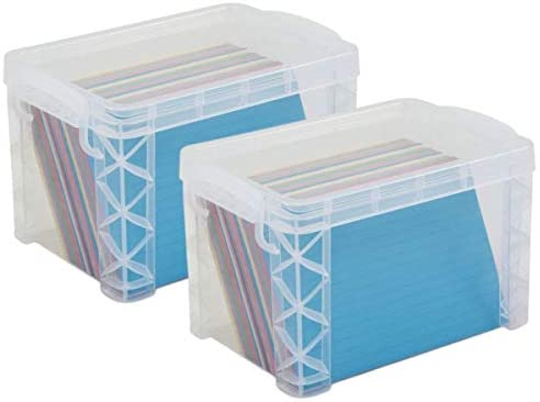 2 Pack 1InTheOffice Index Card Box 4x6 Index Card Holder 500 Capacity