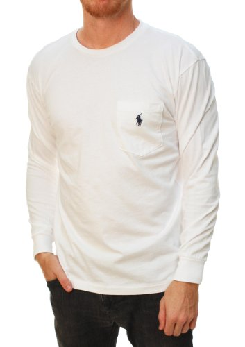 Polo Ralph Lauren Men's Long Sleeve Front Pocket Pony Logo T-shirt (X-Large, White)