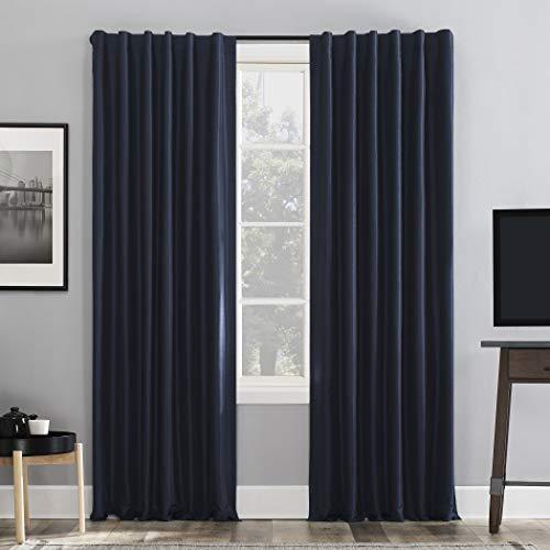 Sun Zero Greyson Faux Dupioni Silk Extreme 100% Blackout Back Tab Curtain Panel, 50