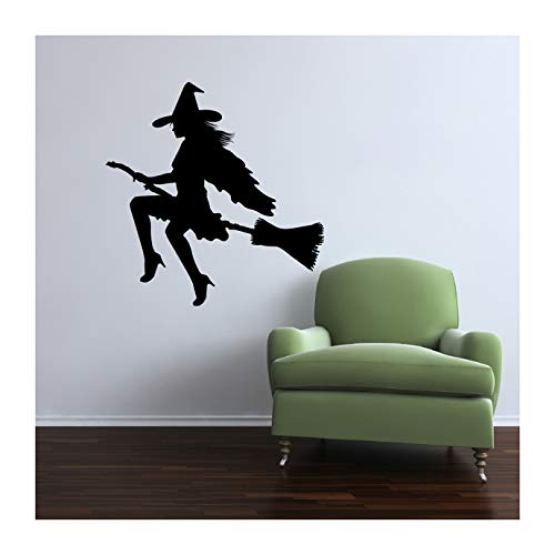 Young Witch on a Broom Halloween Themed Wall Decal - 27.5