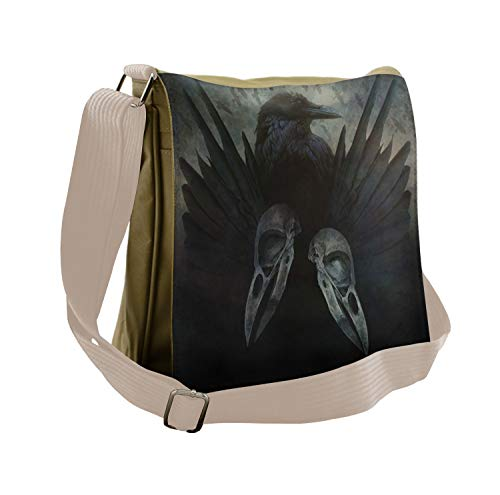 Lunarable Gothic Messenger Bag, Mystic Crow Spirit Wings, Unisex Cross-body