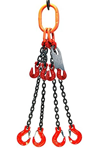Grade 80 5//16X4 Chain Sling Quad Leg Adjustable with Foundry Hooks Rated Capacity 60/° Angle 11700 LBS 45/° Angle 9500 LBS 30/° Angle 6800 LBS