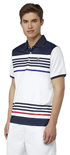 Fila Men's Heritage Stripe Polo Shirt, White, Navy, Clematis Blue, Chinese Red, (Heritage Show Shirt)