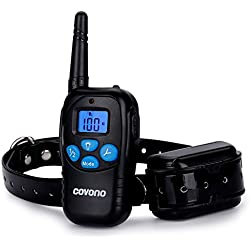 Dog Training Collars with 330 Yards Remote Control,Covono Waterproof and Rechargeable Shock Collar with Beep/Vibration/Shock/Light for Pet (10Lbs-100Lbs),Anti Barking E Collar for 1 Dog