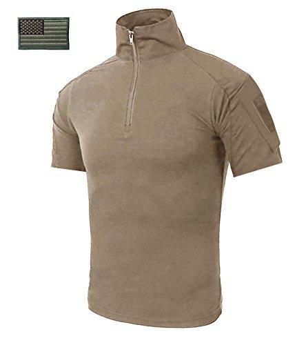 CRYSULLY Male Summer Safari Shirt Fatigue Outdoors Shirt Stylish Classic Climbing Shirts Combat Shirt Pullover Khaki by CRYSULLY (Image #3)
