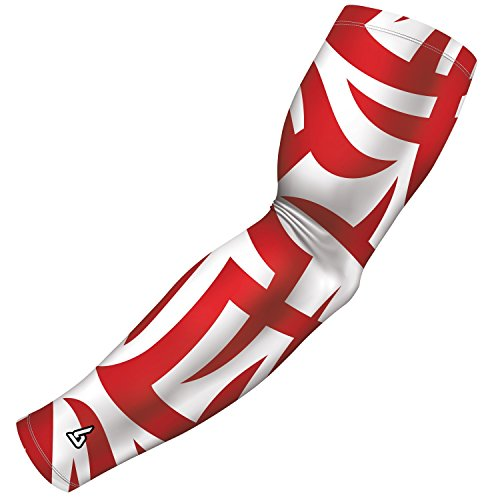 B-Driven Sports Compression Arm Sleeve for Baseball Football Basketball and other sports activities. By, 8-12mmHG Medium Compression in 40+ Colors and designs available in Adult and Youth Sizes