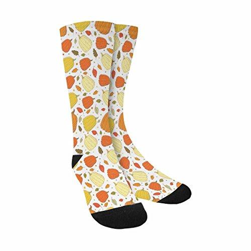 InterestPrint Funny Cute Novelty and Cool Pumpkins Autumn Pattern Pumpkin Sublimated Crew Socks Unisex