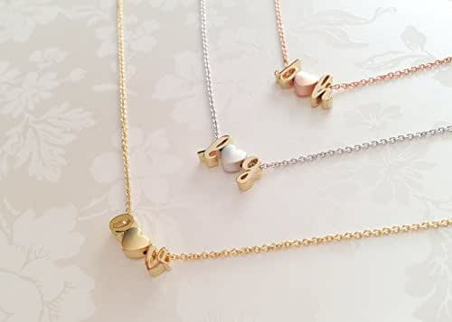 Delicate Initials Heart Necklace in Gold Silver Rose Gold Personalized Gift for Women Three Charms Valentine's Day Gifts for Her - DCIN