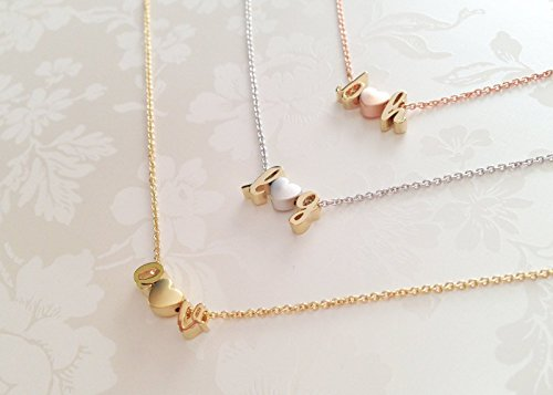 Delicate Initials Heart Necklace in Gold Silver Rose Gold Personalized Gift for Women Three Charms Valentine's Day Gifts for Her - (Date Rose Necklace)