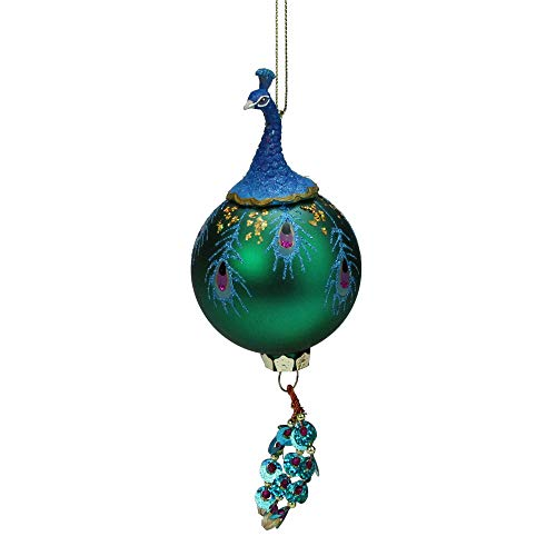 Northlight Regal Peacock Blue and Teal Glittered Glass Ball with Dangle Christmas Ornament, 8.5
