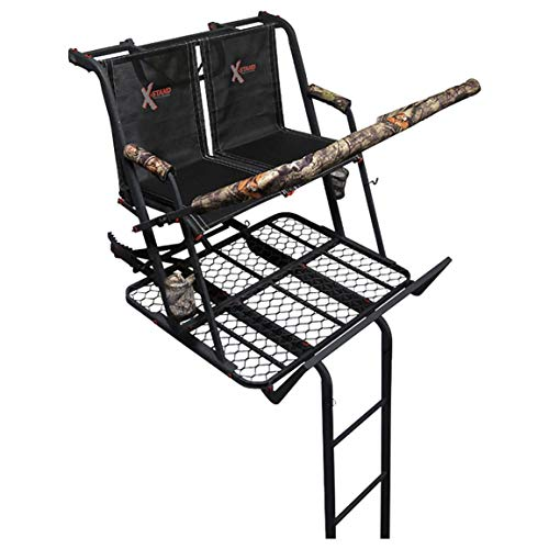 (X-Stand Treestands The Jayhawk Ladderstand The Jayhawk 20' Two-Person Ladderstand Hunting Tree Stand, Black )