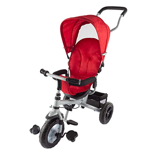 Lil' Rider 4-in-1 Tricycle Stroller - Multistage Convertible Trike for Toddlers and Babies to Learn to Ride with Push Bar and Removeable Canopy