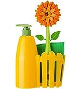 Vigar Flower Power Orange Sink Side Set with Soap Dispenser, 10-1/2-Inches, Orange, Green