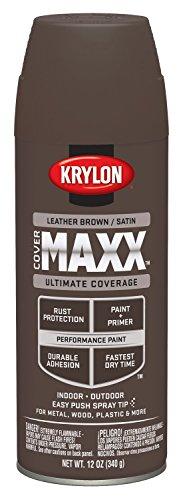 Krylon K09170000 COVERMAXX Spray Paint, Satin Leather Brown, 12 Ounce ()