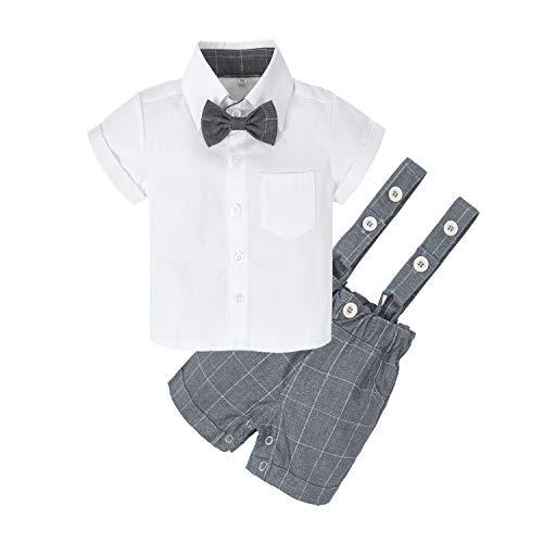 BIG ELEPHANT Baby Boys' 2 Piece T-Shirt Suspender Shorts Clothing Set (6-12 Months, White T-Shirt+Grey Shorts) Cute White Baby Cloth
