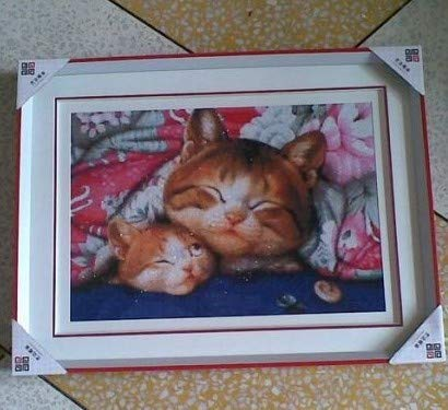 Kitty Cat Cross Stitch - Zamtac Top Quality Lovely Beautiful Counted Cross Stitch kit Kitty Mother and Kitten cat, Sleeping Kitties Kittens - (Cross Stitch Fabric CT Number: 18CT unprint Canvas)