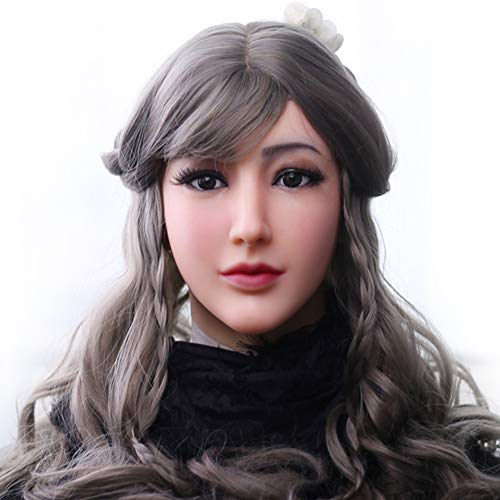 Crossdresser Realistic Silicone Female Mask Angel Face Masquerade Halloween Cosplay Drag Queen Crossdresser Cover Facial Scars -