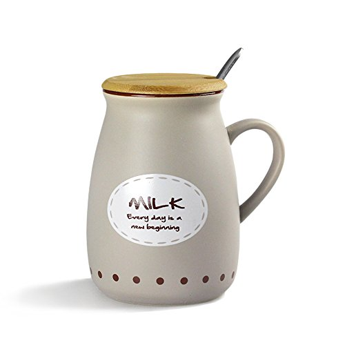MyLifeUNIT Positive Quote Ceramic Milk Mug with Bamboo Lid (Grey)