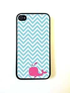 Turquoise Chevron Zig Zag Pink Whale iPhone 4 Case Fits iPhone 4 & iPhone 4S