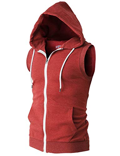 H2H Mens Basic Zip Up Sleeveless Hoodie Vest HEATHERRED US XL/Asia 2XL (CMOHOSL08)