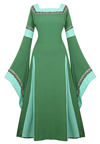Renaissance Costume Women Medieval Dress Bell Sleeve Lace Up Vintage Retro Long Dress Halloween Cosplay Costumes, Green, Small