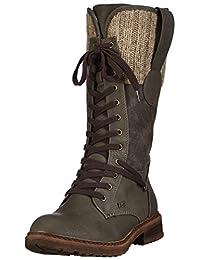Rieker womens long boot graphit/brown/grey