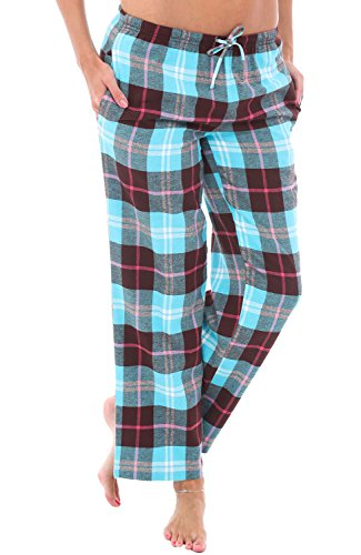 Alexander Del Rossa Women's Flannel Pajama Pants, Long Cotton Pj Bottoms, Medium Teal and Brown Plaid (A0702Q23MD)