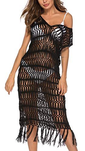 Ayliss Women#039s Lace Long Kimono Cardigan Maxi Bikini Swimsuit Cover Up One Size fit US 014 Cover Up DressBlack