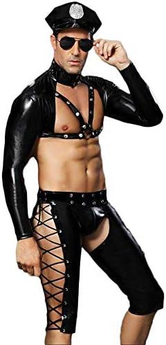 Fxwj Herren Leder Body Polizist Wetlook Erotik Kostüme Brust Halbe Hosenträgergurt Rolle Spielen Outfits Set, Schwarz