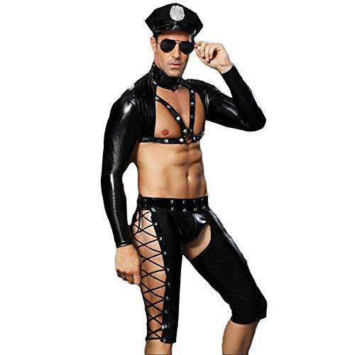FJLOVE Mens 4PCS Leather Bodysuit Police Officier Costume Outfit Chest Half Harness Belt Role Play Uniform Set, Black