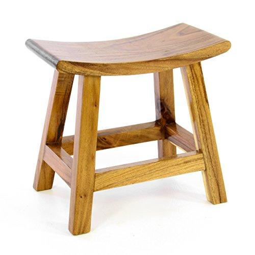 Divero Hocker Sitzhocker Holzhocker Badhocker Duschhocker Schemel – Suar Holz massiv behandelt Reine Handarbeit – braun