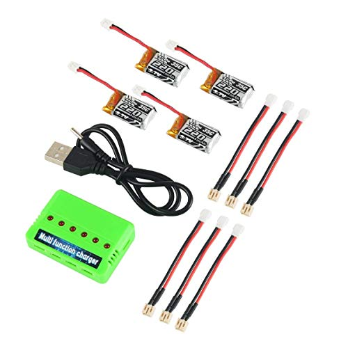 4pcs 1S 3.7V 220mAh LiPo Battery 35C with 6 in 1 Charger and Cable for Eachine E010 JJRC H36 NIHUI NH010 GoolRC T36 RC Quadcopter Drone Spare Parts ()
