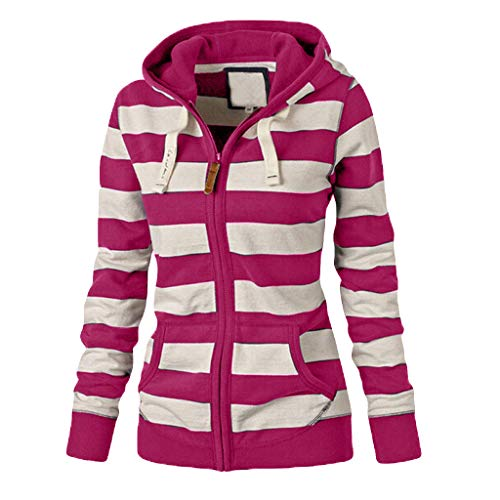 - Faionny Women Zipper Hoodies Stripe Jacket Coat Hooded Sweatshirt Plus Size Cardigan Blazer Casual Slim Jumper Parka (Hot Pink 2, M)