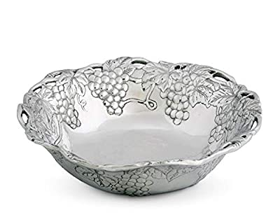 "Arthur Court Designs Aluminum Metal Grape Pattern Serving Bowl 12"" diameter"