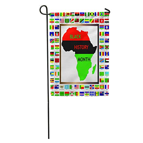 Semtomn Garden Flag Green Raster Showing African and Black Cultured Flags for History Home Yard House Decor Barnner Outdoor Stand 12x18 Inches Flag